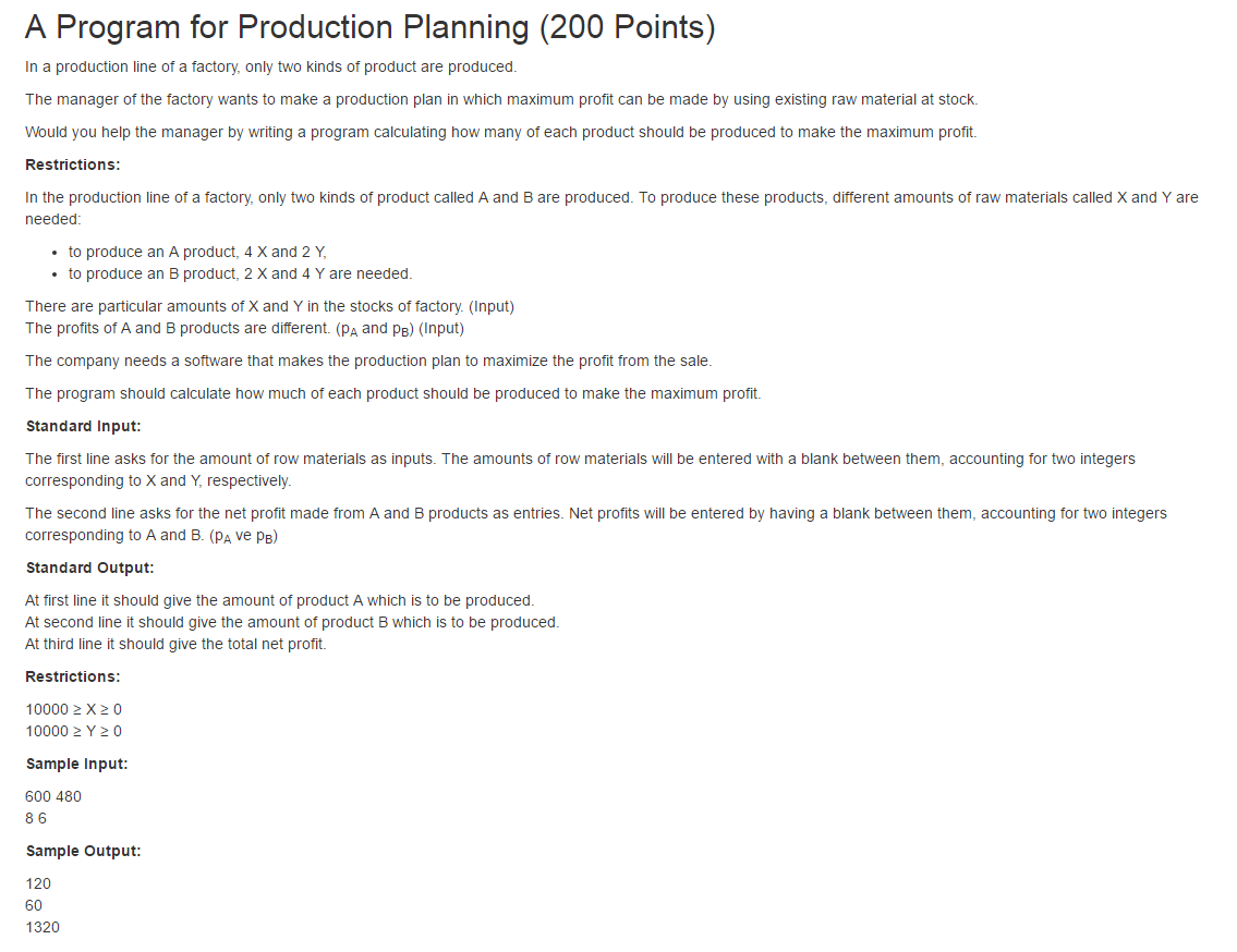 A Program for Production Planning (200 Points)